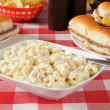 Macaroni salad with mini cheeseburgers — Stock Photo #11857601