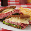 Reuben sandwich on dark rye — Stock Photo