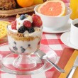 Healthy breakfast with a yogurt parfait - Stock Photo