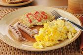 Link Sausage and eggs closeup — Stock Photo
