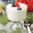 Vanilla yogurt with fresh berries — Stock Photo