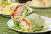 Turkey club sandwch with a salad — Stock Photo