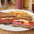 Stock Photo: Corned beef sandwich with fries