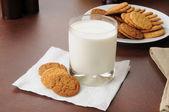 ショウガのスナップのクッキーとミルク — ストック写真