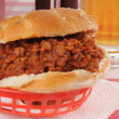 Royalty-Free Stock Photo: Sloppy Joe with a mug of beer