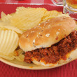 Royalty-Free Stock Photo: Sloppy Joe hamburger with chips