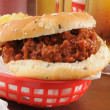 Royalty-Free Stock Photo: Sloppy Joe hamburger and beer