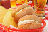 Chicken sandwich and beer — Stock Photo