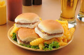 Sliders and fries — Stock Photo