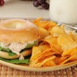 Tuna sandwich on a bagel — Stock Photo