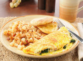 Spinach and feta cheese omelet — Stockfoto