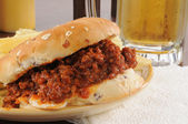 Sloppy joe and beer — Stock Photo