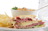 Pastrami panini with soup — Stock Photo