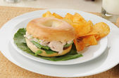 Tunafish bagel sandwich — Stock Photo