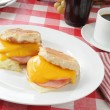 Royalty-Free Stock Photo: English muffins with ham, egg and cheese