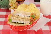 Deviled ham sandwich in a basket — Stock Photo