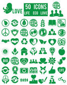 Set of life eco love icons — Stock Vector