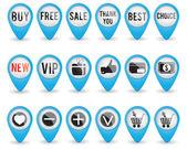 Set of blue 3D shop pointers — Stock Vector