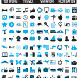100 icons for travel vacation recreation — Imagens vectoriais em stock