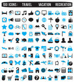 100 icons for travel vacation recreation — Vettoriale Stock