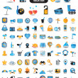 100 detailed icons for travel vacation recreation - Imagens vectoriais em stock