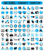 100 icons - community connection — Stock Vector