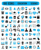100 icons for education science — Vetorial Stock