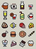 20 cartoon food and drink icons — Stock Vector