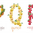 Vetorial Stock : Alphabetic letters from fruit - PQR
