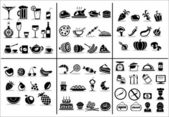 Essen und trinken-symbole-satz — Stockvektor