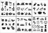 Yiyecek ve içecek icons set — Stok Vektör