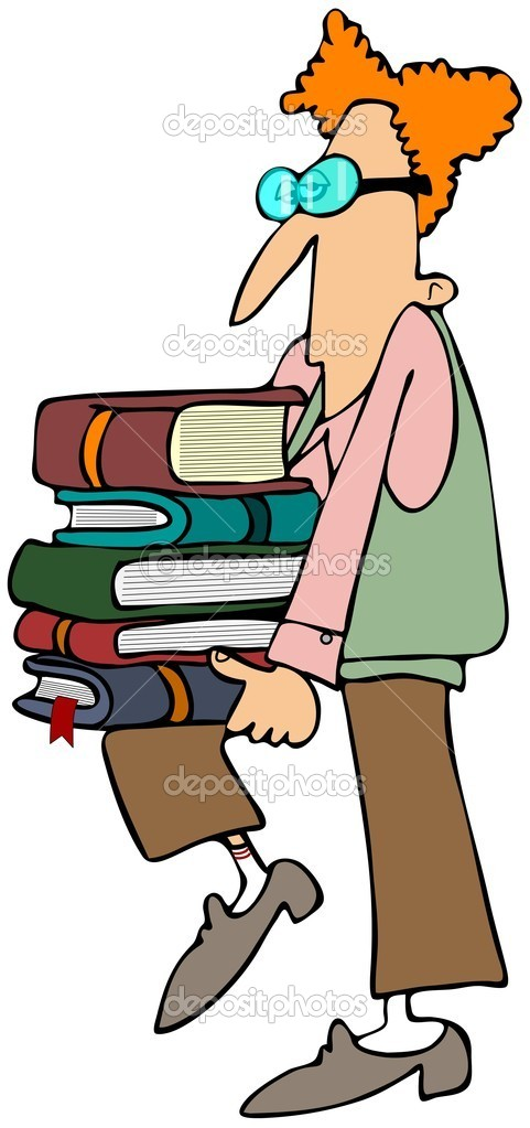 A geeky looking boy carrying a stack of books. — Stock Photo #11282410