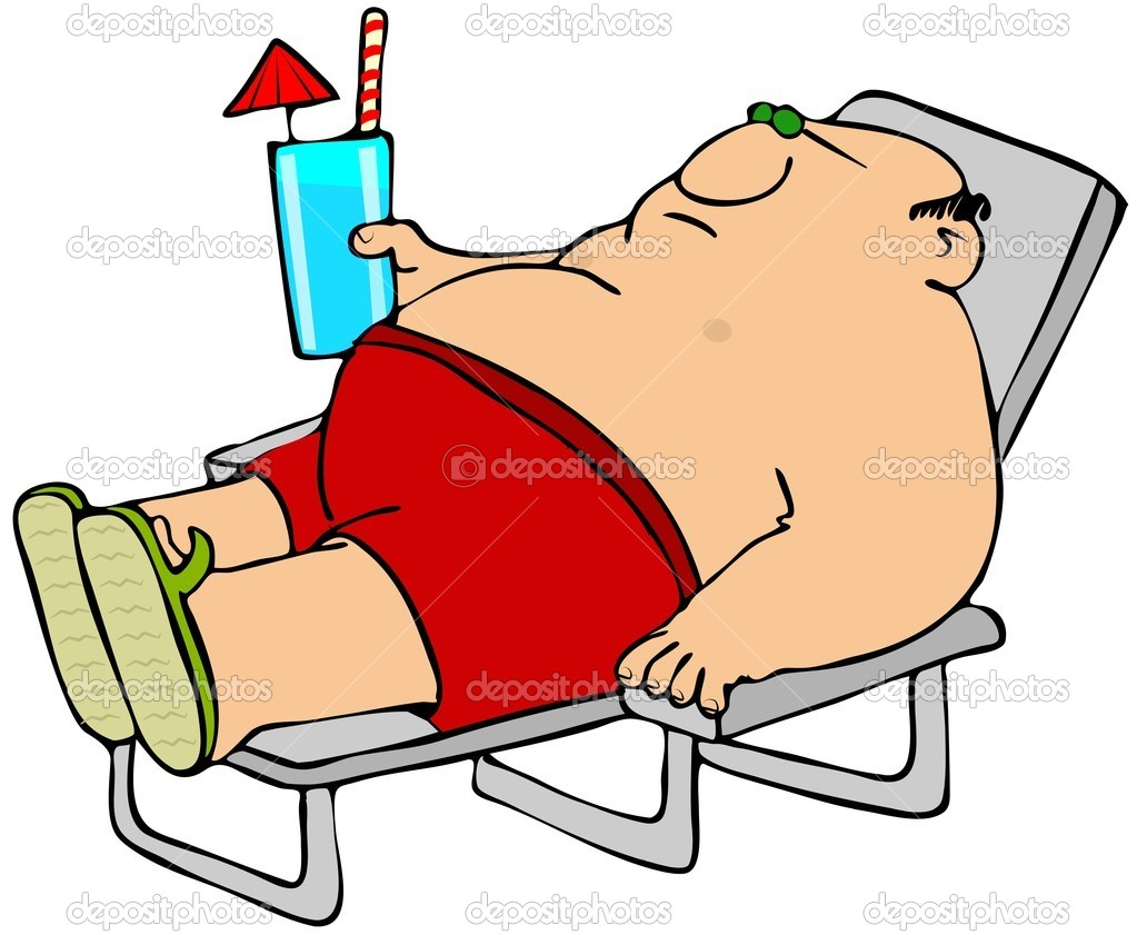 A man in swim trunks laying on a lounge chair and holding a drink.  Stock Photo #11357908