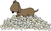 Dog guarding a pile of bones — Stock Photo