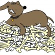 Stock Photo: Dog protecting pile of bones