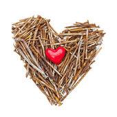 生锈的钉子的心脏 — 图库照片