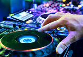 Dj mixes the track — Stockfoto