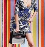 Woman with portable radio — Stock Photo