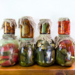 Stock Photo: Jars of pickled vegetables