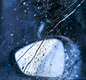 Drops on the window in rain — Stock Photo