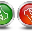Thumb up and down voting buttons — Stockfoto