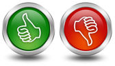 Thumb up and down voting buttons — Stock Photo