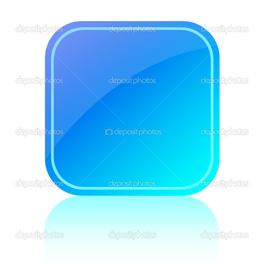 Blue glassy button over white — Stock Photo #11358057