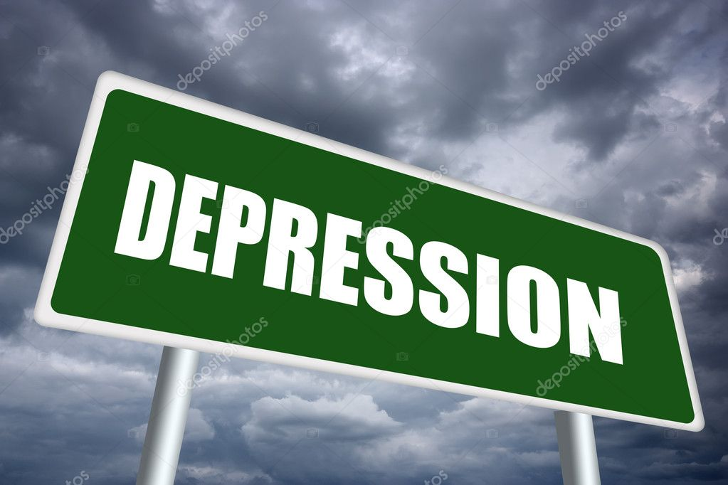 Depression illustrated sign over gloomy sky — Stock Photo #11389627