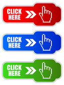 Vector click here buttons — Stock Vector