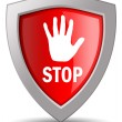 Stop shield icon — Stock Photo