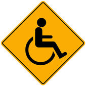 Disabled person warning sign — Stock Photo