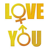 Love you 3d text — Stock Photo