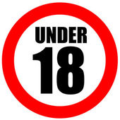 Under eighteen sign — Stock Photo