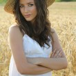Portrait of pretty girl in wheat field — Stockfoto